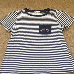 Blue and white striped tee.
